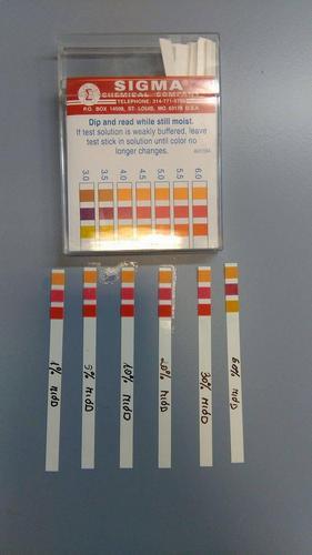 Ryc. 4. Badanie odczynu roztworów miodu przy użyciu papierków wskaźnikowych (Sigma) Kolory papierków wskaźnikowych w różnych stężeniach miodu.